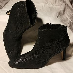 Bijou Black Leather Snake Print Heel Boot Sz 9